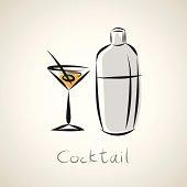 illustration sketch of cocktail symbol