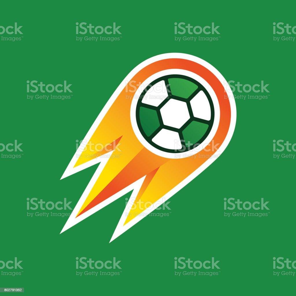 Ilustración, balón de fútbol en el fuego - ilustración de arte vectorial