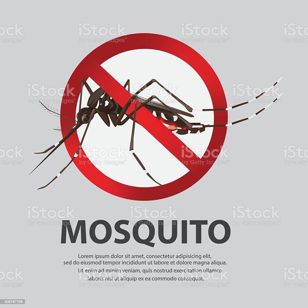 illustration. Stop mosquito cartoon vector art illustration