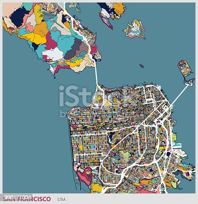 Illustration style map,San francisco city