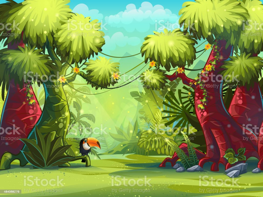 Illustration sunny morning in the jungle with bird toucan vector art illustration