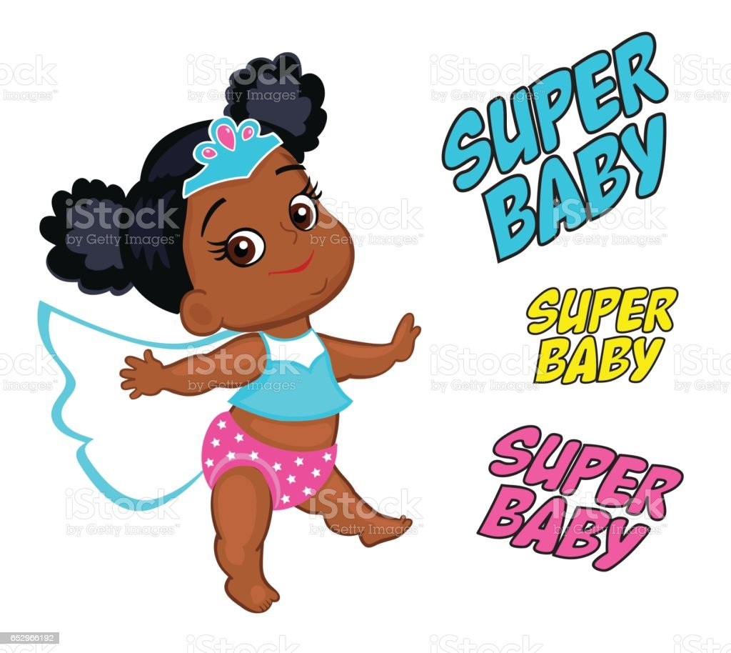 Illustration Super Hero Baby Girl multicultural. vector art illustration