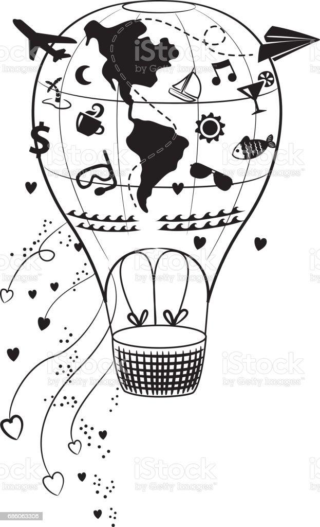 Abbildung Tattoo Ballon Mit Lustigen Symbole Für Reisen Und ...