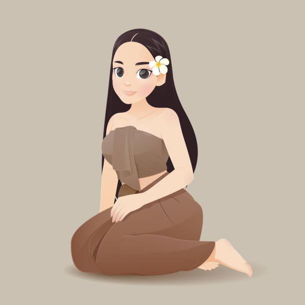 illustration thai frauen in thai traditionelle kleidung, traditionelle südostasiatische kostüm, vektor und cartoon - ayutthaya stock-grafiken, -clipart, -cartoons und -symbole