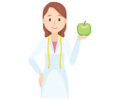 Illustration that a female nutritionist has an apple - upper body