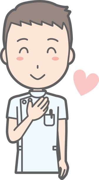 illustration that a male nurse wearing a white coat laughs with a hand on her chest - thank you teacher stock illustrations, clip art, cartoons, & icons