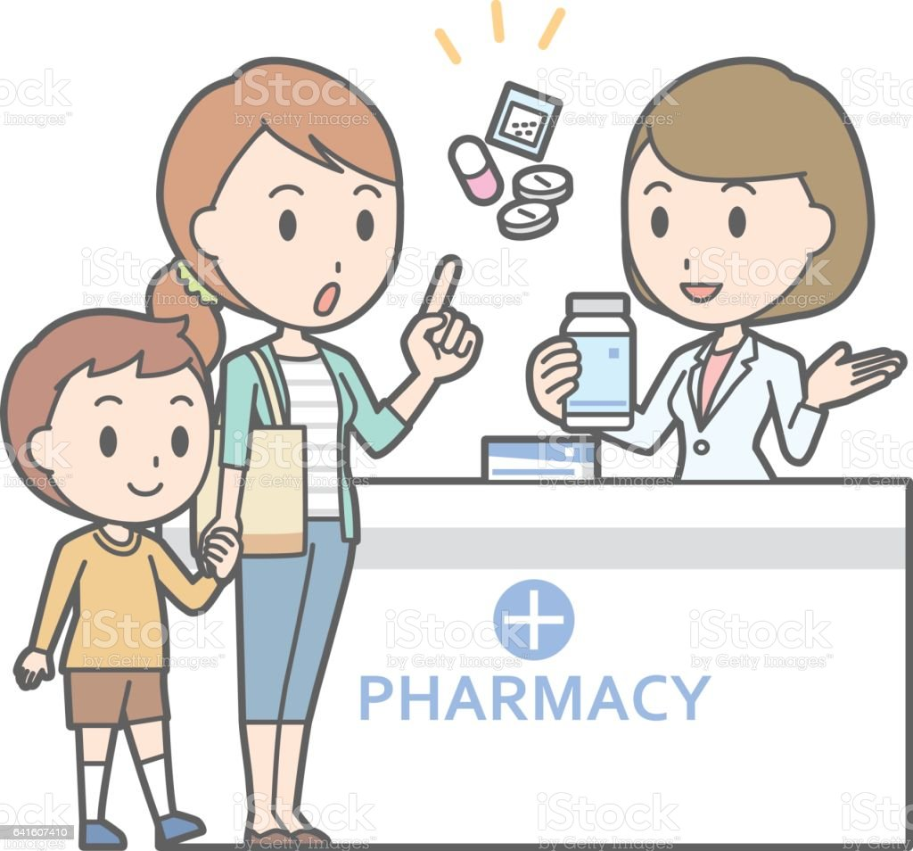 Illustration that a young mother consulting a female pharmacist vector art illustration