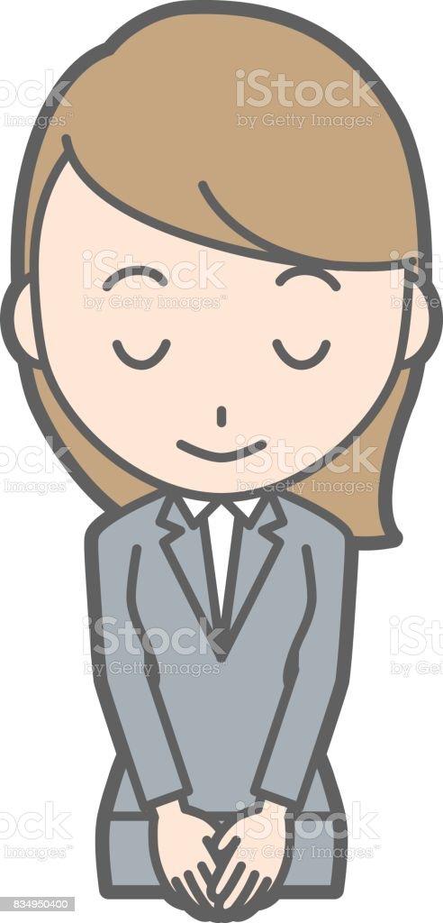 スーツの若い女性が笑顔でお辞儀イラスト ベクターアートイラスト