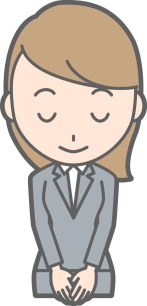 スーツの若い女性が笑顔でお辞儀イラスト - お礼点のイラスト素材/クリップアート素材/マンガ素材/アイコン素材