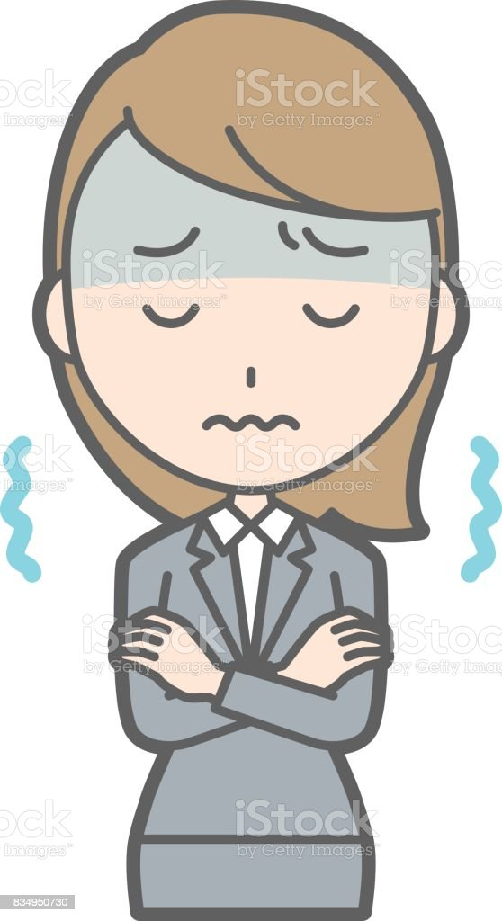Illustration that a young woman in suit is cold and trembling vector art illustration