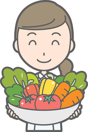 Illustration that nurses wearing white coats have various vegetables