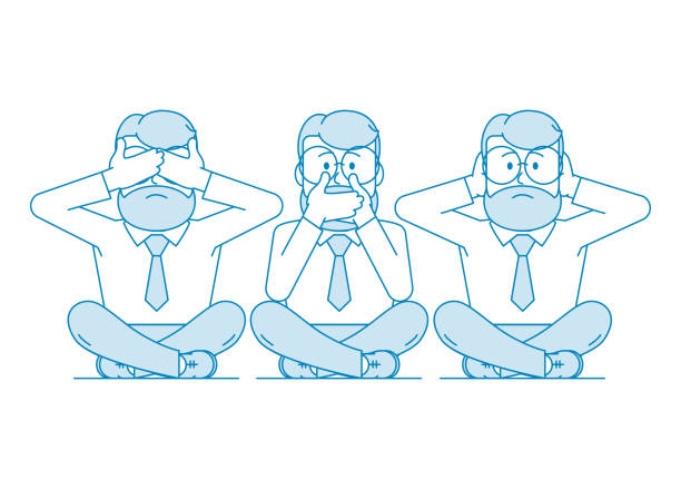 Illustration Three wise monkeys. Three wise monkeys. One man covers his mouth with his hands, the other covers his ears, the third eyes. Character - a man with a beard and glasses. Illustration in line art style. Vector hear no evil stock illustrations