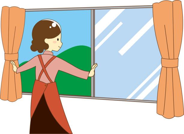 換気するイラスト - 主婦 日本人点のイラスト素材/クリップアート素材/マンガ素材/アイコン素材