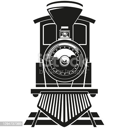 istock Illustration transport vehicle steam train on rails. Ideal for educational and institutional materials 1294737369