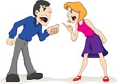 Illustration two people man and woman arguing, couple fighting. Ideal for educational and institutional materials