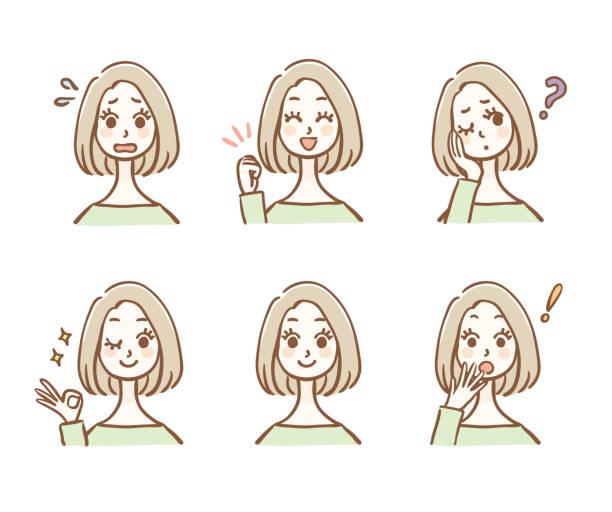 ilustrações de stock, clip art, desenhos animados e ícones de illustration variations of female facial expressions - da cintura para cima