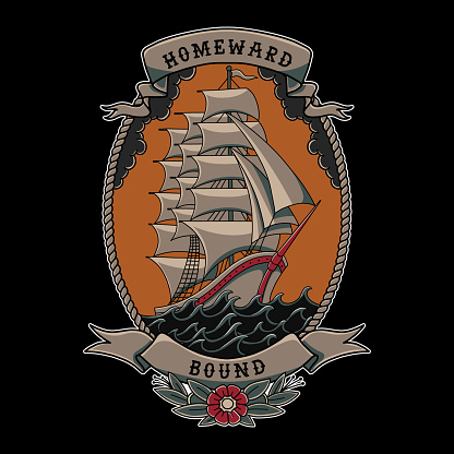 Illustration vecor homeward bound sailor jerry sailing ship with roses in traditional tattoo style