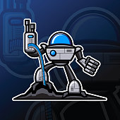Illustration vector graphic cartoon character of robotic gunner holding machine gun with so many blue ice color bullet. Good to use for gaming community graphic asset.