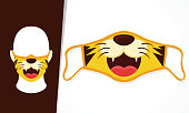 istock Illustration Vector Graphic Of Cute Lion Mouth In Mask Design 1233869938
