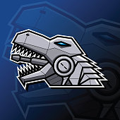Illustration vector graphic of robotic T-Rex head in Esport logo style. Good to use for gaming community graphic asset.