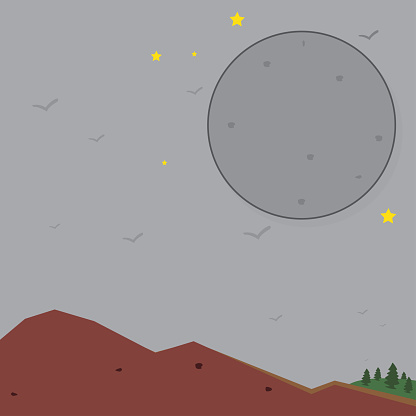 Illustration vector graphic of The hill landscape in the night
