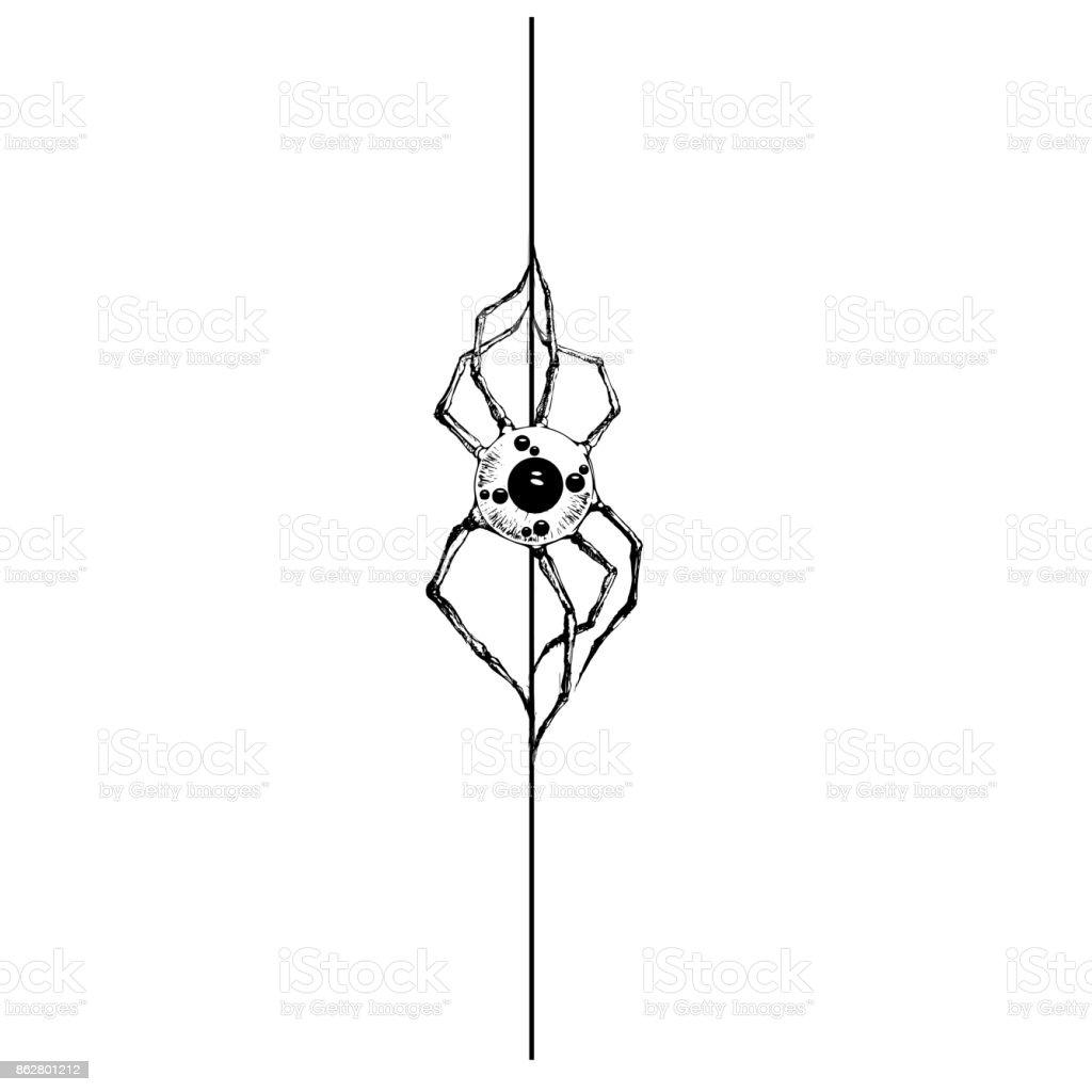 Illustration Vector Hand Drawing Spider With Human Eyeball Mutant