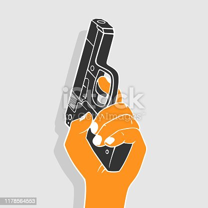 Illustration Vector Hand With Gun