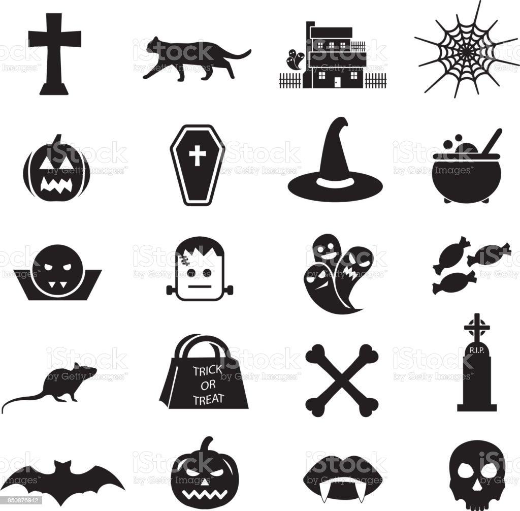 Illustration vector icon set Halloween vector art illustration