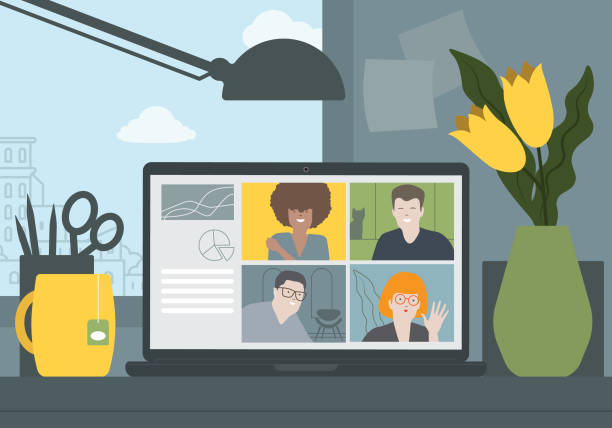 illustration video conference zoom stock illustrations