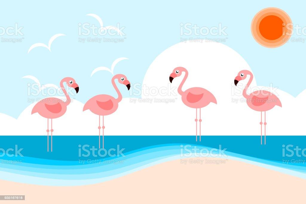 Illustration vector of cute flamingos on the beach. Hello sea and summer season concept. vector art illustration