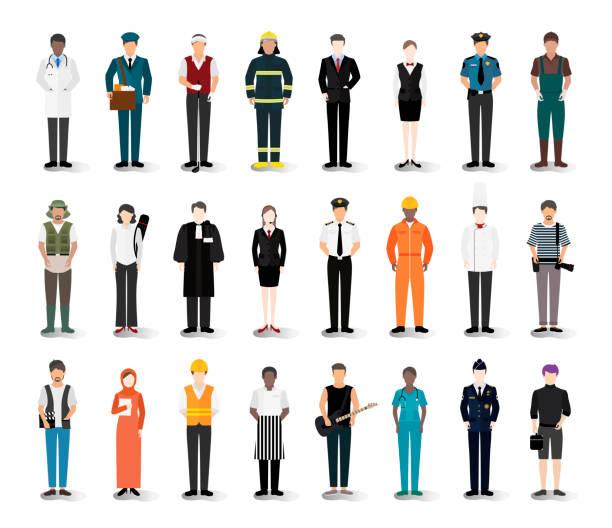 ilustrações de stock, clip art, desenhos animados e ícones de illustration vector of various careers and professions - job