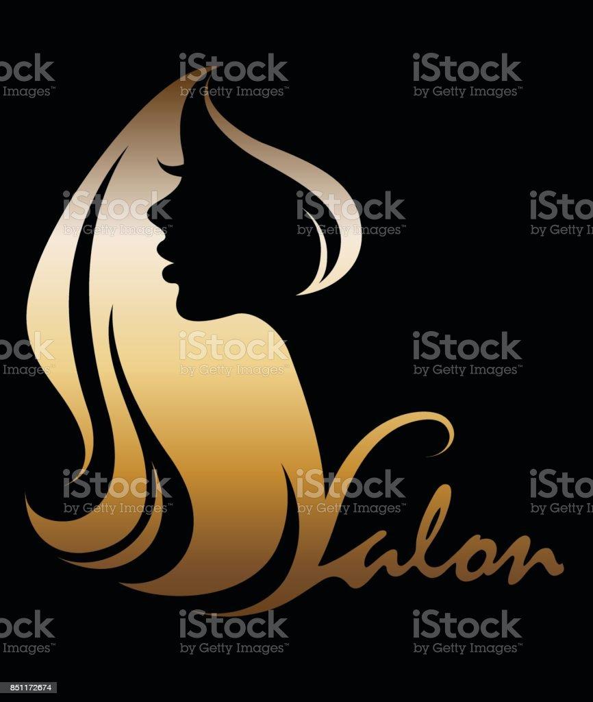 illustration vector of women silhouette golden icon vector art illustration