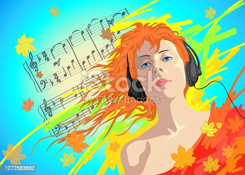 istock Illustration vector portrait of a woman with reddish long hair fluttering in the wind in a bright red blouse and listening to music in headphones against the background of flying autumn yellow and orange leaves and blue autumn sky 1272583852