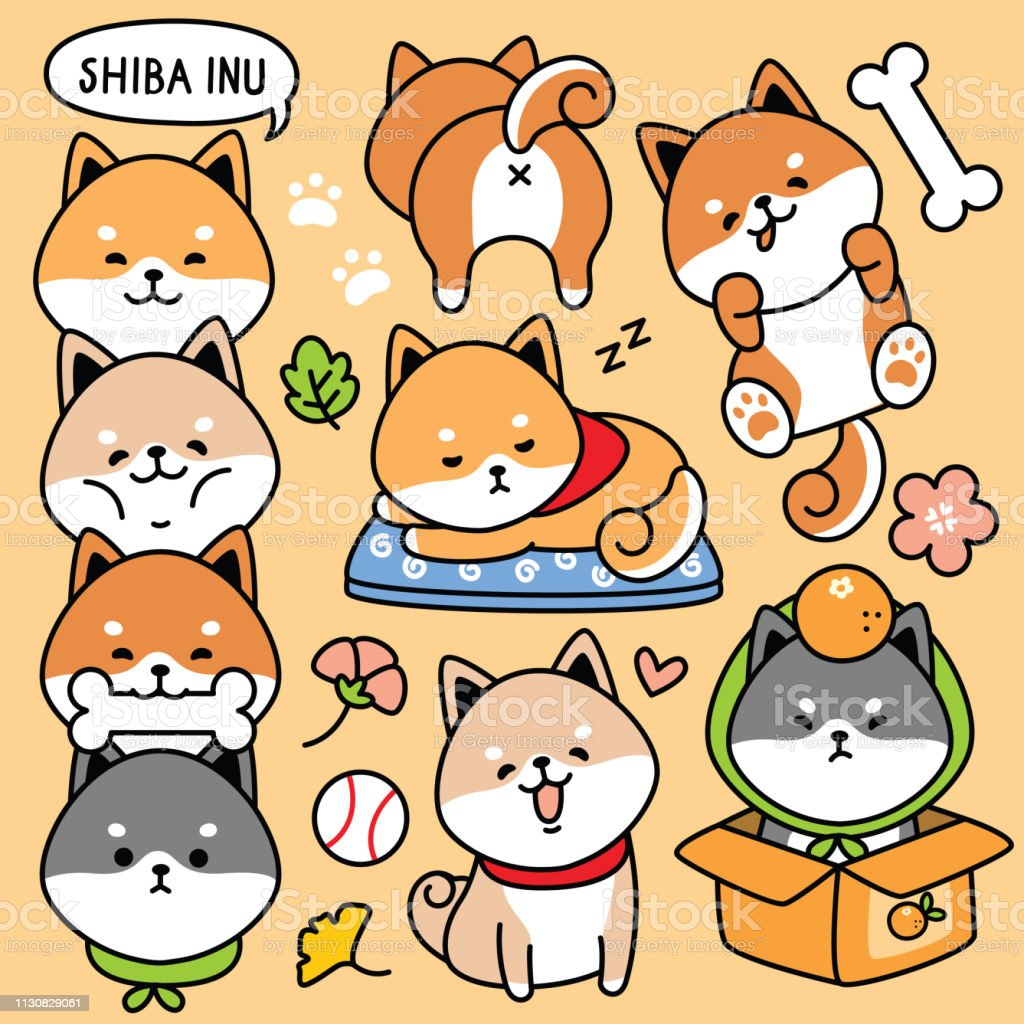 Illustration Vector Set Cartoon Cute Dog Japan Shiba Inu Stock Illustration Download Image Now Istock