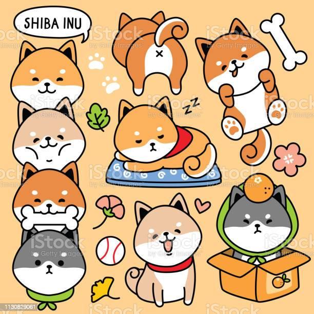 Illustration vector set cartoon cute dog japan shiba inu vector id1130829061?b=1&k=6&m=1130829061&s=612x612&h=prrkvcedyqlrhhxjd 0bsohjykbr uc6m6uxvbap3ou=