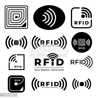 Vector set icon symbol concept RFID. radio frequency identification. eps 10 illustrations