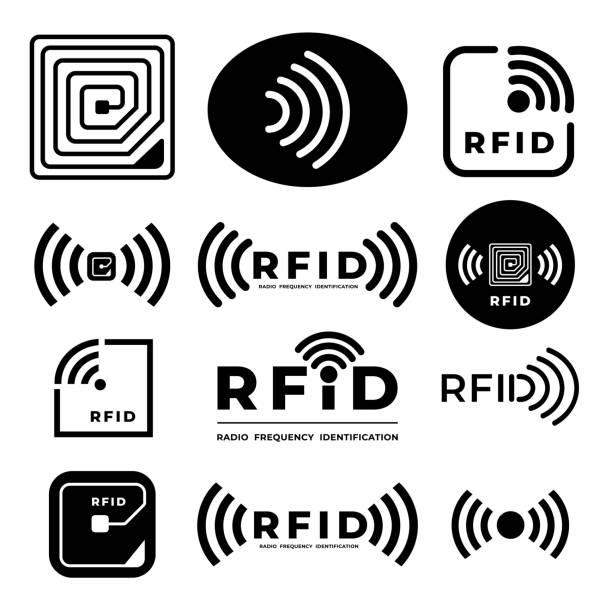 RFID Illustration Vector Vector set icon symbol concept RFID. radio frequency identification. eps 10 illustrations radio frequency identification stock illustrations