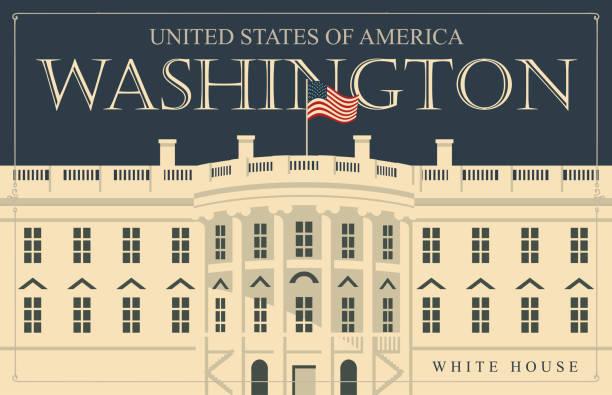 stockillustraties, clipart, cartoons en iconen met illustratie witte huis, washington dc met vlag - white house