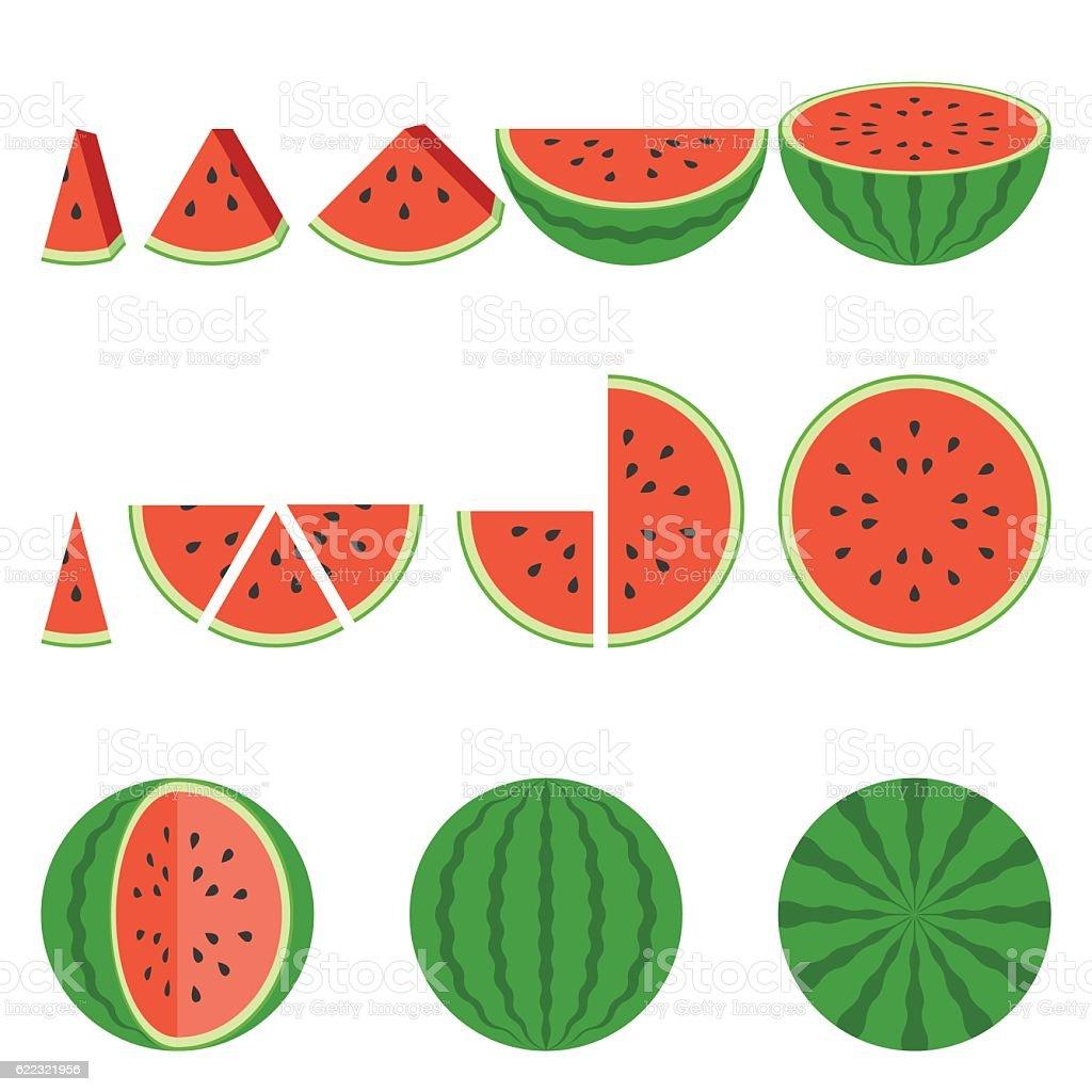 Illustration whole and sliced of watermelon - illustrazione arte vettoriale