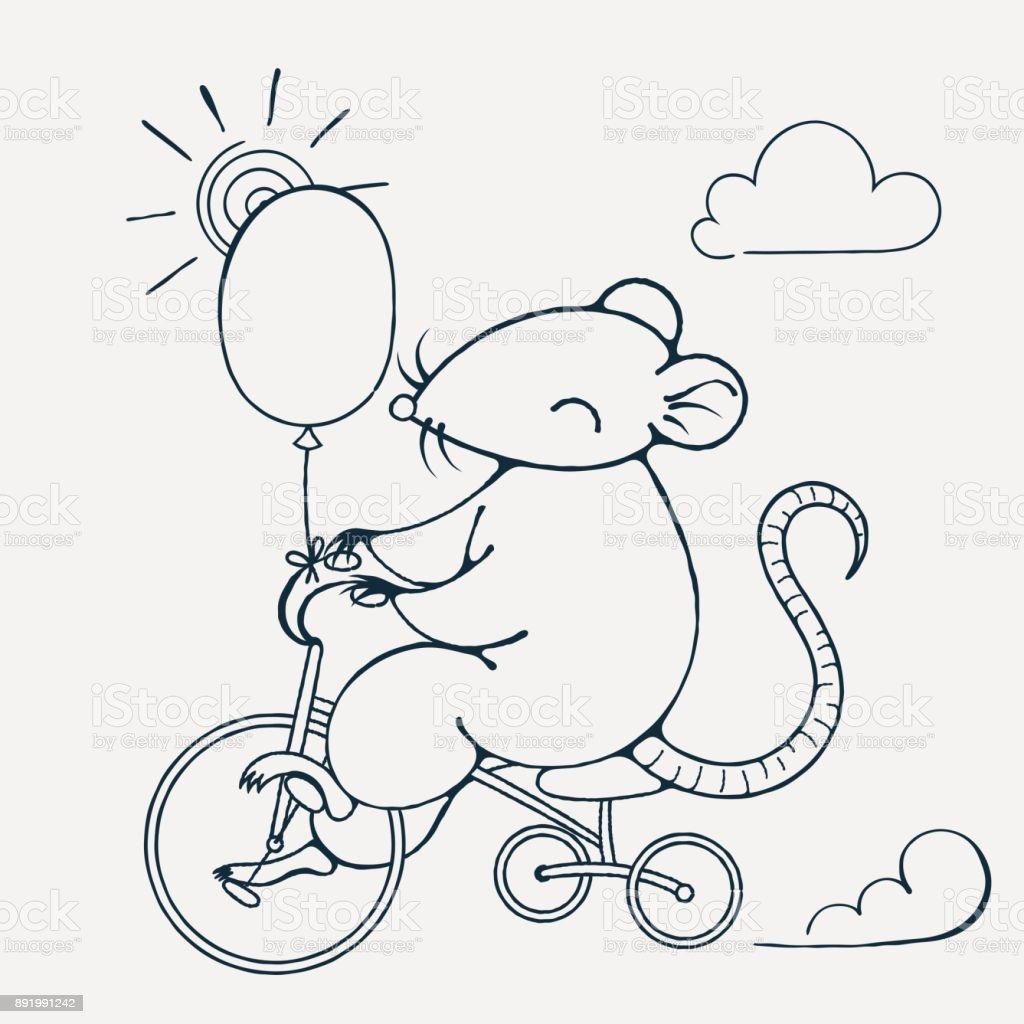 Resimde Bir Bisiklet Balon Ile Neşeli Bir Fare Ile Boyama Sayfası