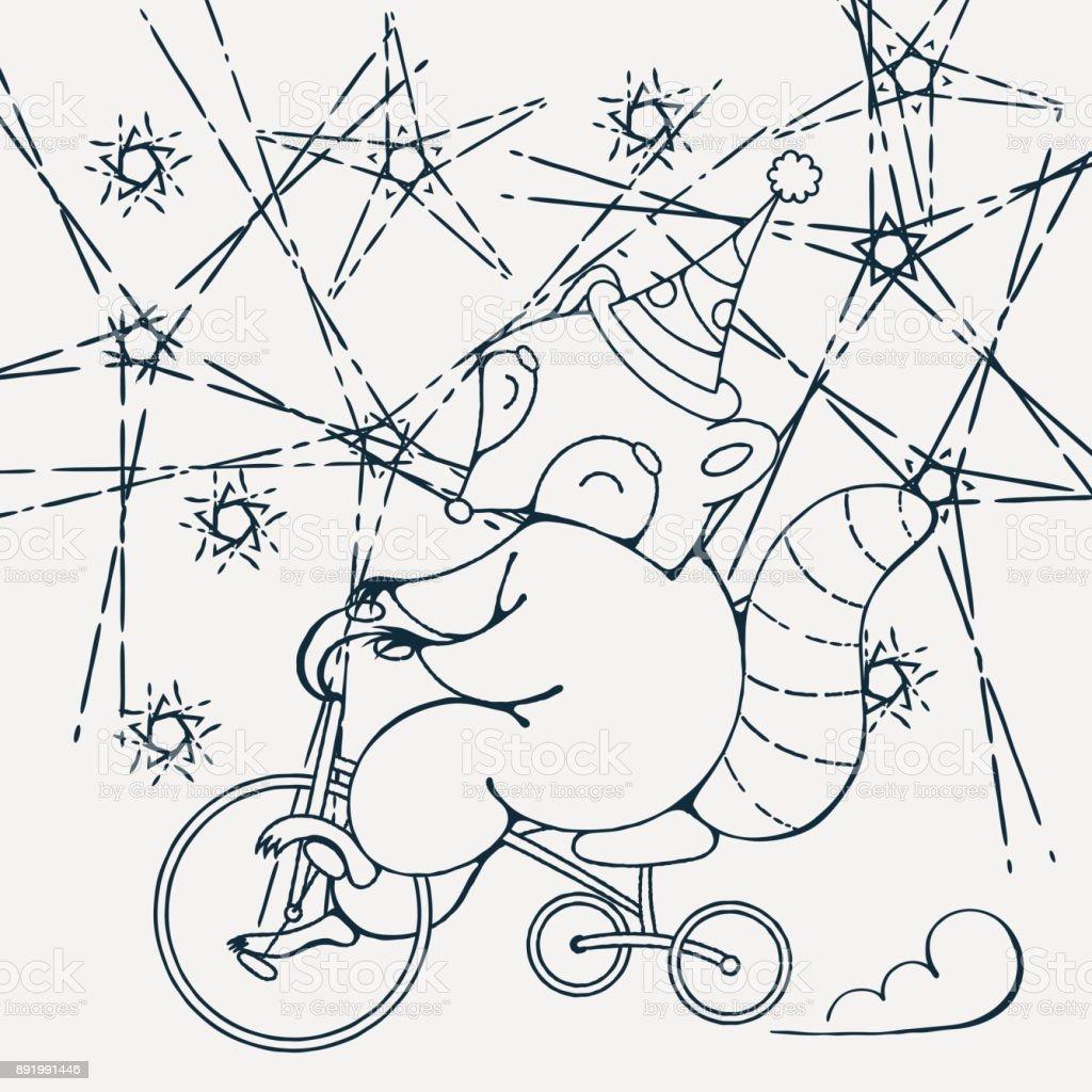 Bisiklet Boyama Kitabi Sayfasi Cizgi Film Vektor Cizim Clipart