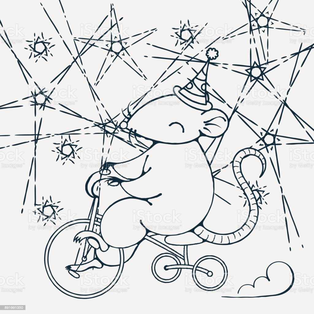 Resimde Bir Sirk Faresi Bir Bisiklet Ile Boyama Sayfası Stok Vektör