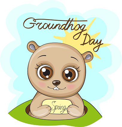illustration with a cute groundhog