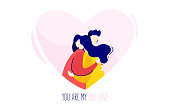 Illustration with a girl hugging a boy. Love card in trendy flat linear style. Vector.