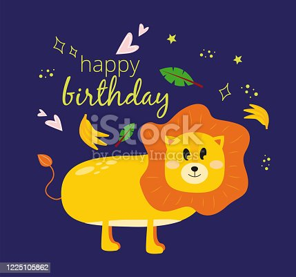 istock Illustration with a lion, palm leaf, bananas and the inscription happy birthday on a dark background. Greeting card happy birhday with a lion. 1225105862