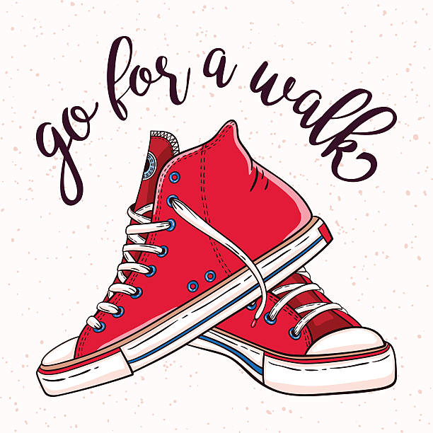illustrations, cliparts, dessins animés et icônes de illustration with a pair of vintage red sneakers - chaussure
