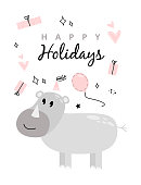 istock Illustration with a rhino and the inscription happy birhday. Greeting card with rhino, gift box and balloon. Happy birthday greeting card with rhino, presents and balloon. 1227260203