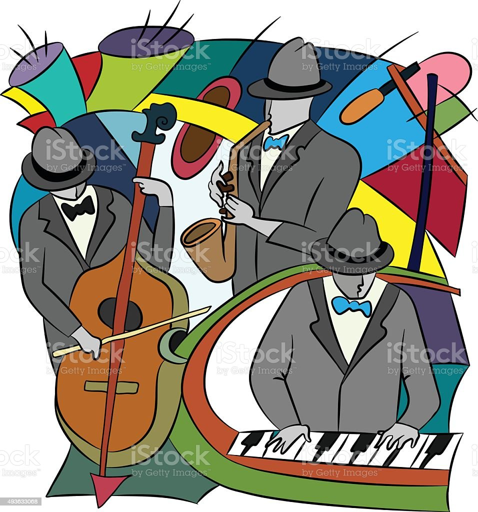 Illustration with absract Jazz  players. vector art illustration