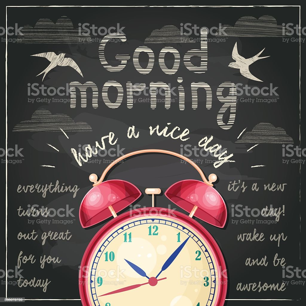 Illustration with alarm clock and typographical background vector art illustration