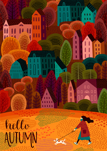 Illustration With Autumn City Vector Template For Card Poster Flyer Cove Stock Illustration - Download Image Now